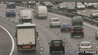 Vehicles on the M25 motorway
