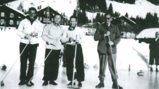 "The escapees in Switzerland. Left to right: ""Billie"" Stephens, Pat Reid, Hank Wardle and Ronnie Littledale"