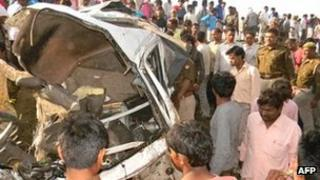 Wreckage of vehicle struck by train at level crossing near Madu station in Uttar Pradesh, India - 20 March 2012