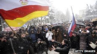 Supporters of South Ossetia's presidential candidate Alla Dzhioyeva rally in Tskhinvali, the capital of Georgia's breakaway region