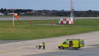 Guernsey Airport: Lines being painted for nose-in parking
