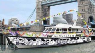 Mocked up boat design for Thames Diamond Jubilee Pageant