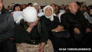 Relatives of the accused in the Zhanaozen trial