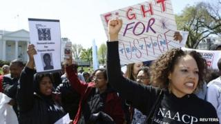 Student activists rally in front of the White House on 27 March 2012