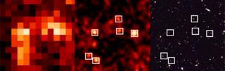 Comparison of Herschel, Scuba and Hubble