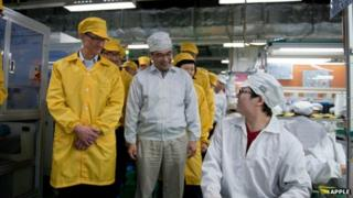 Apple CEO Tim Cook at a Foxconn plant in China
