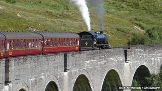 A steam train on the Glenfinnan Viaduct