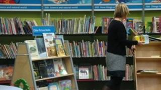 Woman in a Gloucestershire library