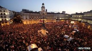 Protesters in Puerta del Sol, Madrid, 29 March