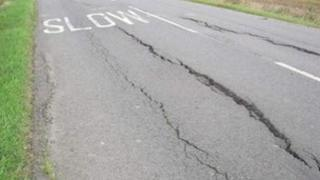 Road cracking caused by drought: B1093 at Whittlesey, Cambridgeshire