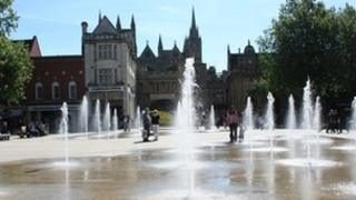 Fountains in Cathedral Square, Peterborough