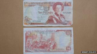 A fake £10 note handed to Jersey Police