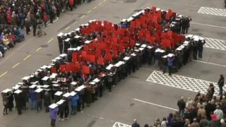 "Preston residents created ""human crosses"" across the city"