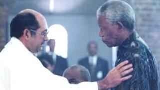 Father Robert Dennis with Nelson Mandela
