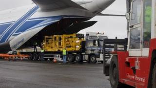 Aircraft at Prestwick Airport carrying specialised equipment for well intervention