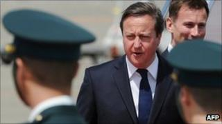 Mr Cameron arrived in Tokyo on the first leg of his tour