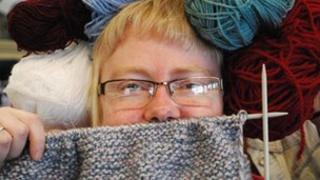 Vic Minett with knitting