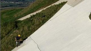 Re-painting Westbury White Horse in 2006