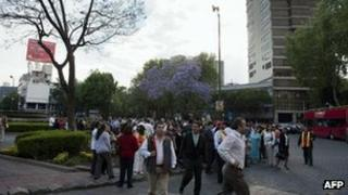 People gather in a park after an earthquake in Mexico City, 11 April, 2012.