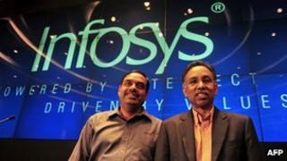 SD Shibula CEO of Infosys Limited, and CFO V Balakrishnan