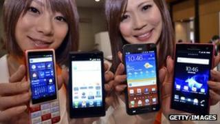 Models show off Android phones