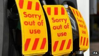 Signs at petrol station