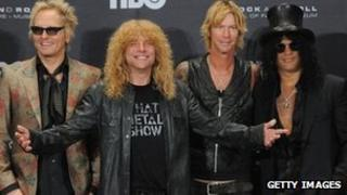 Matt Sorum, Steven Adler, Duff McKagan and Slash of Guns N' Roses