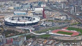 Aerial view of Olympic stadium and park, 17 April 2012