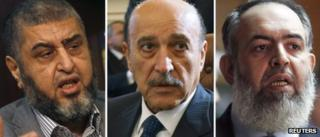 Composite image showing Khairat al-Shater, Omar Suleiman and Hazem Abu Ismail