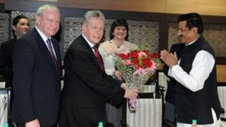 Peter Robinson, Martin McGuinness and Arlene Foster welcomed by Prithviraj Chavan, Chief Minister of Maharashtra