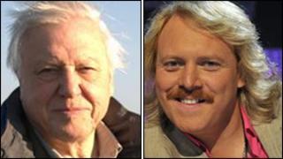 Sir David Attenborough and (right) Keith Lemon