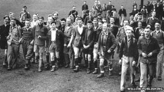 Ramblers taking part in the Kinder Mass Trespass in 1932
