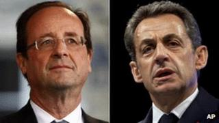 Francois Hollande (left) and Nicolas Sarkozy