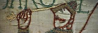 Bayeux Tapestry depiction of King Harold being hit in eye by Norman arrow