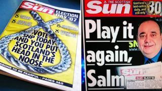 Scottish Sun front pages