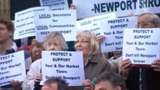 Protests held against a store development in Newport