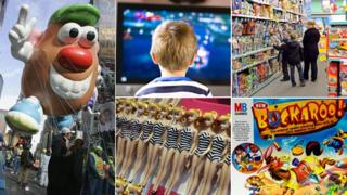 (From top, clockwise) Child watching TV, Potato Head balloon, children in toy shop, Buckaroo board game, Barbie dolls.