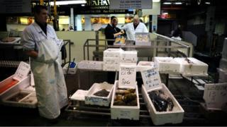 A fish stall at Billingsgate Market