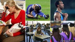 Composite image showing from left: Stressed office worker, John Terry, Michael Johnson, students taking an exam, graduates