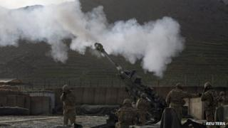 US soldiers in Afghanistan firing Howitzer artillery