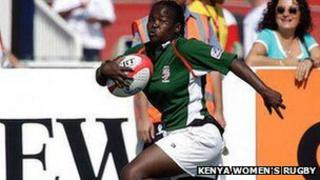 Aberdeen Shikoyi playing at the Dubai Sevens tournament Photo: Kenya Women's Rugby