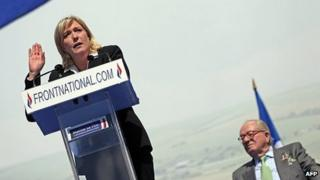 Marine Le Pen addresses supporters in Paris, 1 May 12
