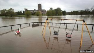 Flood water near Tewkesbury Abbey