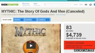 Kickstarter Mythic funding page screenshot