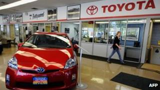 A Toyota showroom in the US
