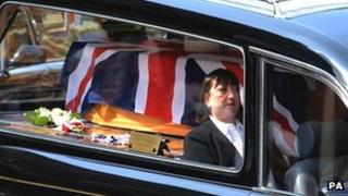 Pte Anthony Frampton's coffin driven to St Peter's Church in Huddersfield