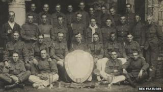 Royal Flying Corps - 6 Squadron No. 2 Wing with their Trophies, The Shiny Six, in 1915