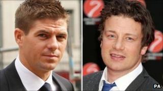 Steven Gerrard and Jamie Oliver