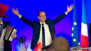 French President-Elect Francois Hollande celebrates victory in the place de la Cathedrale on May 6, 2012 in Tulle, France