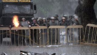 Police at barrier outside La Planta